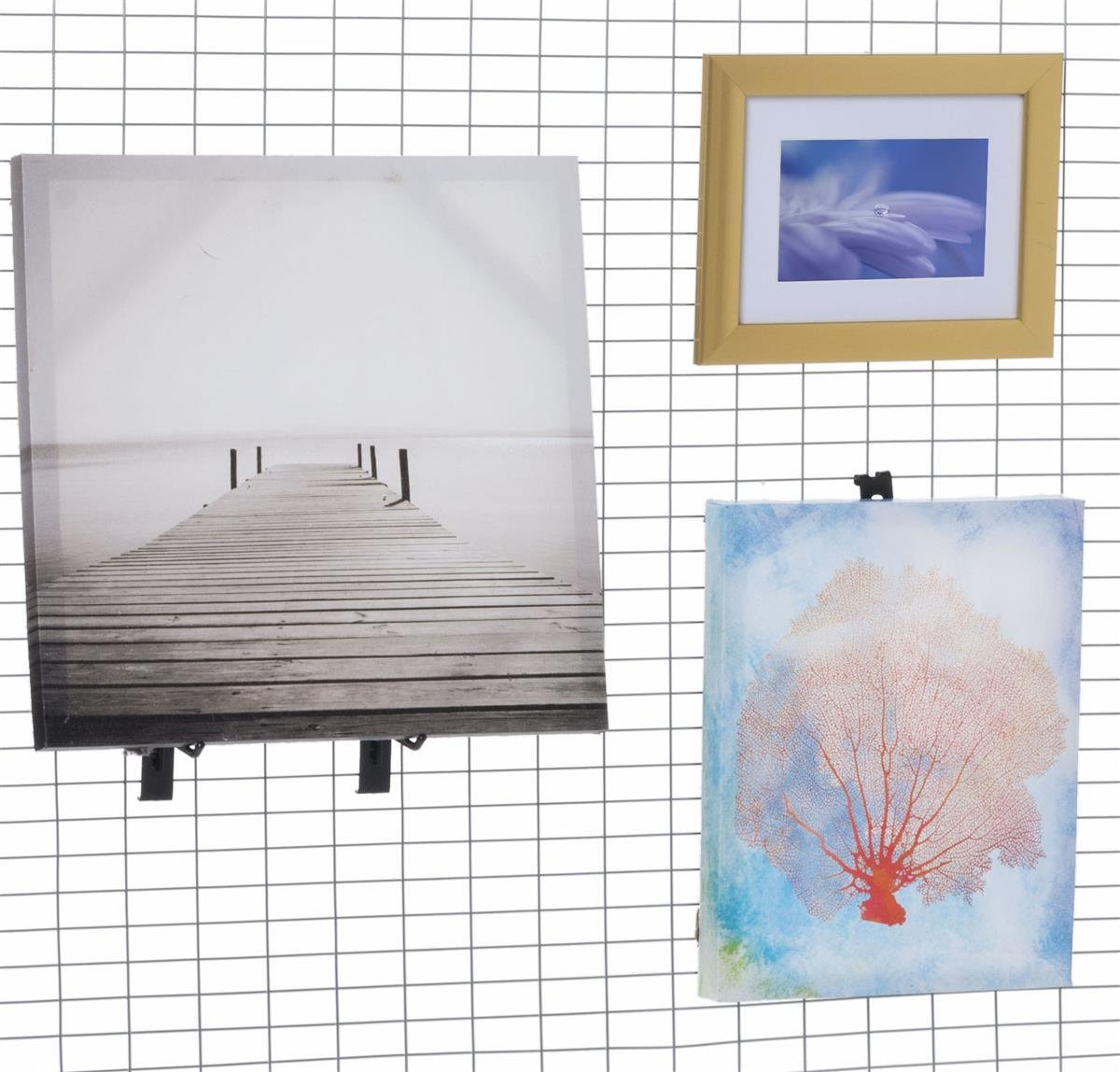 Displays2go Wire Grid Panel for Artwork, Iron Metal Construction, Powder Coated – Silver Finish (AD4PNLS) by Displays2go (Image #3)