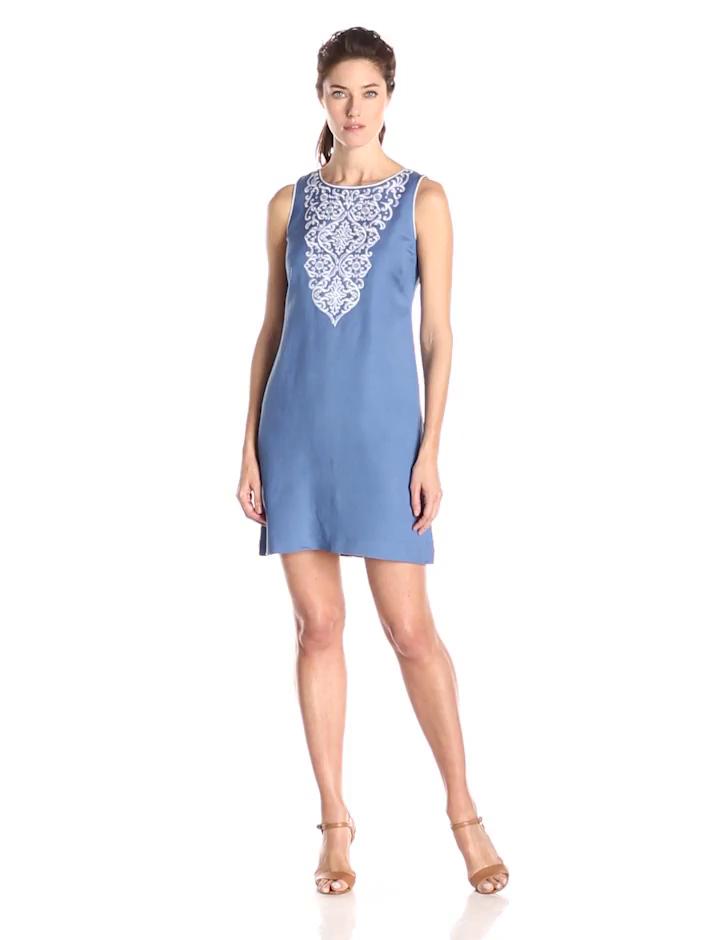 Jessica Howard Women's Sleeveless Neck Embriodered Shift Dress, Ocean, 16