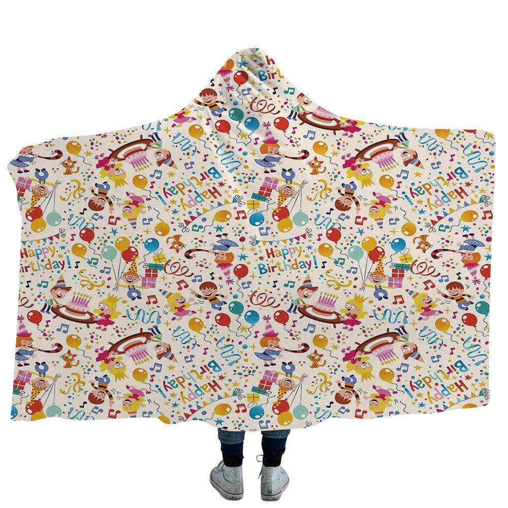ISMYPRINT 80\ 大人用 毛布 カラフル Hooded-Blanket-33989 フラシ天 ウェアラブル フード付き ブランケット 幾何学模様 ファンキー 幾何学模様 レトロ スタイル スパイラル サークル 渦巻き模様 ドット柄 (大人用60インチx80インチ) Hooded Blanket 80