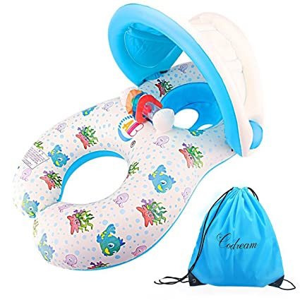 Dual Person Mommy and Baby Inflatable Baby Pool Float Swimming Ring with Canopy and Storage bag  sc 1 st  Amazon.com & Amazon.com: Dual Person Mommy and Baby Inflatable Baby Pool Float ...