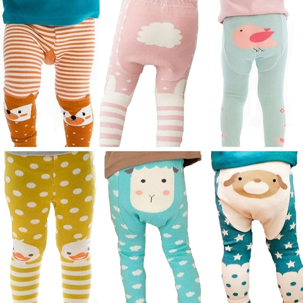 Baby girls 6 pack spring /& autumn cartoon fall seamless knit warm Tights