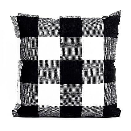 Amazon Famibay Pillow Cover Square Tartan Cotton Linen Throw Adorable 22 Inch Pillow Covers