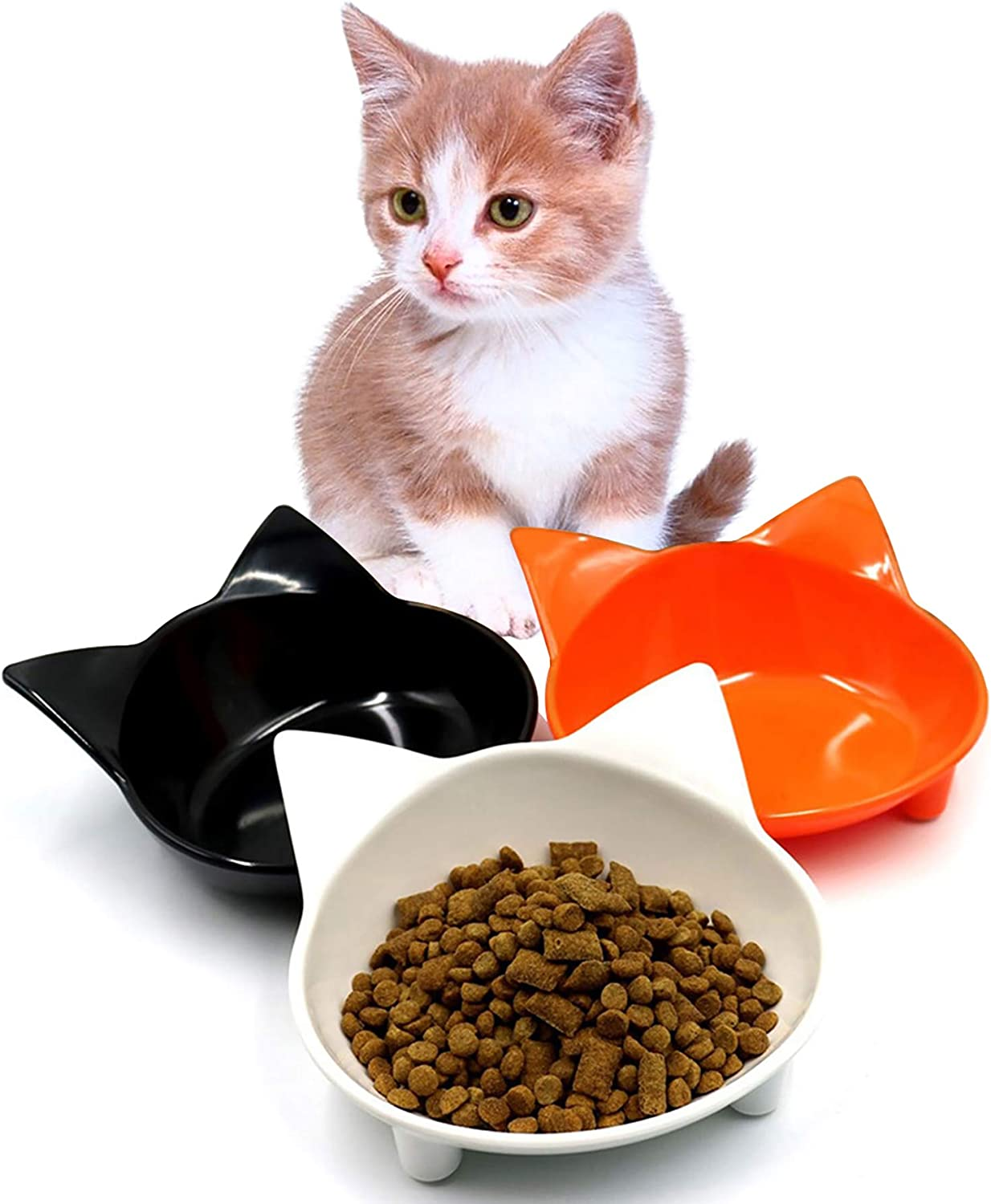 Yesland Cat Bowl, 3 Pack Shallow Cat Food & Water Bowls, Non Slip Pet Feeding Dish to Stress Relief of Whisker Fatigue Pet Bowl of Dogs Cats Rabbits