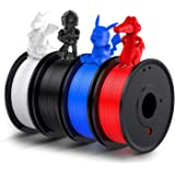 3D Printer PLA Filament 1.75mm, LABISTS Plastic 3D Printing PLA Filament Bundle 1kg/2.2lb, 0.25KG/Spool 4 Colors (White, Red,