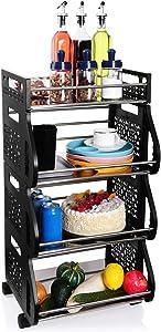Fruit Basket, DRESSPLUS 4 Tier Stackable Utility Carts with Wheels, Counter Shelf with Anti-Skid Feet, Vegetable Fruit Storage Baskets Metal Organizer Bins for Kitchen, Pantry, Bathroom (Black)