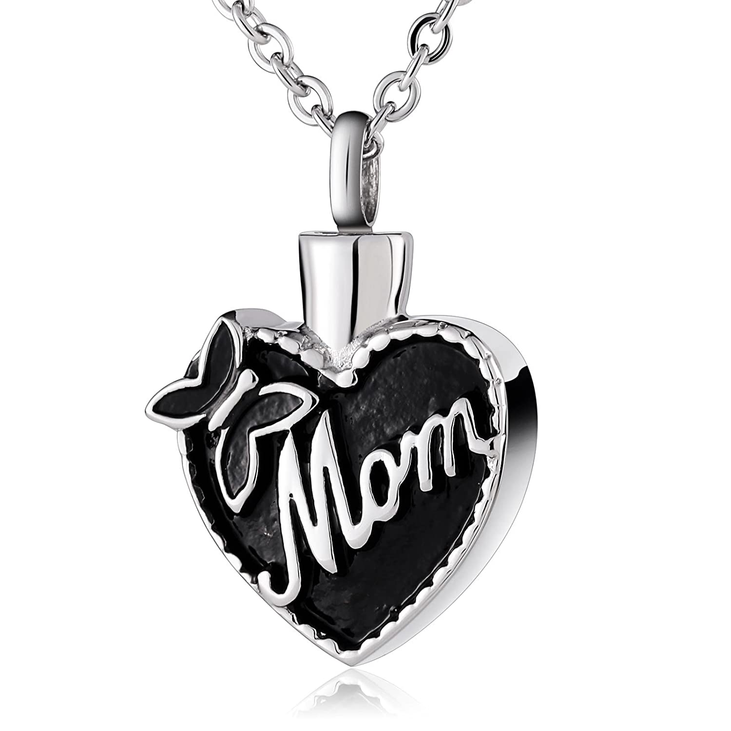 ANAZOZ Stainless Steel Pet Loss Memorial Urn Ash Necklace Cremation Pendant Butterfly Wavy Pattern