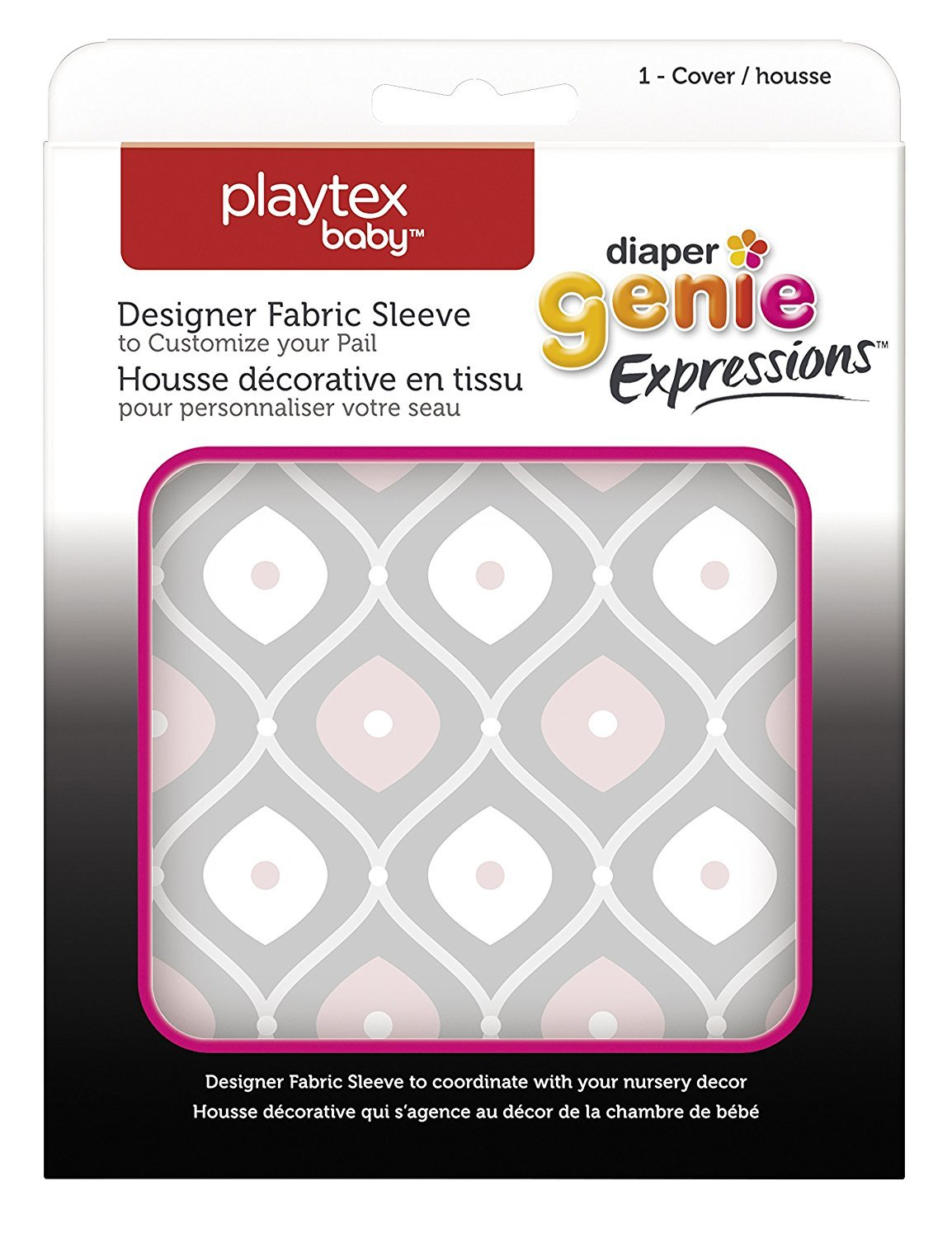 Playtex Diaper Genie Expressions Diaper Pail Fabric Sleeve, Grey Clovers Edgewell Personal Care 10078300019449