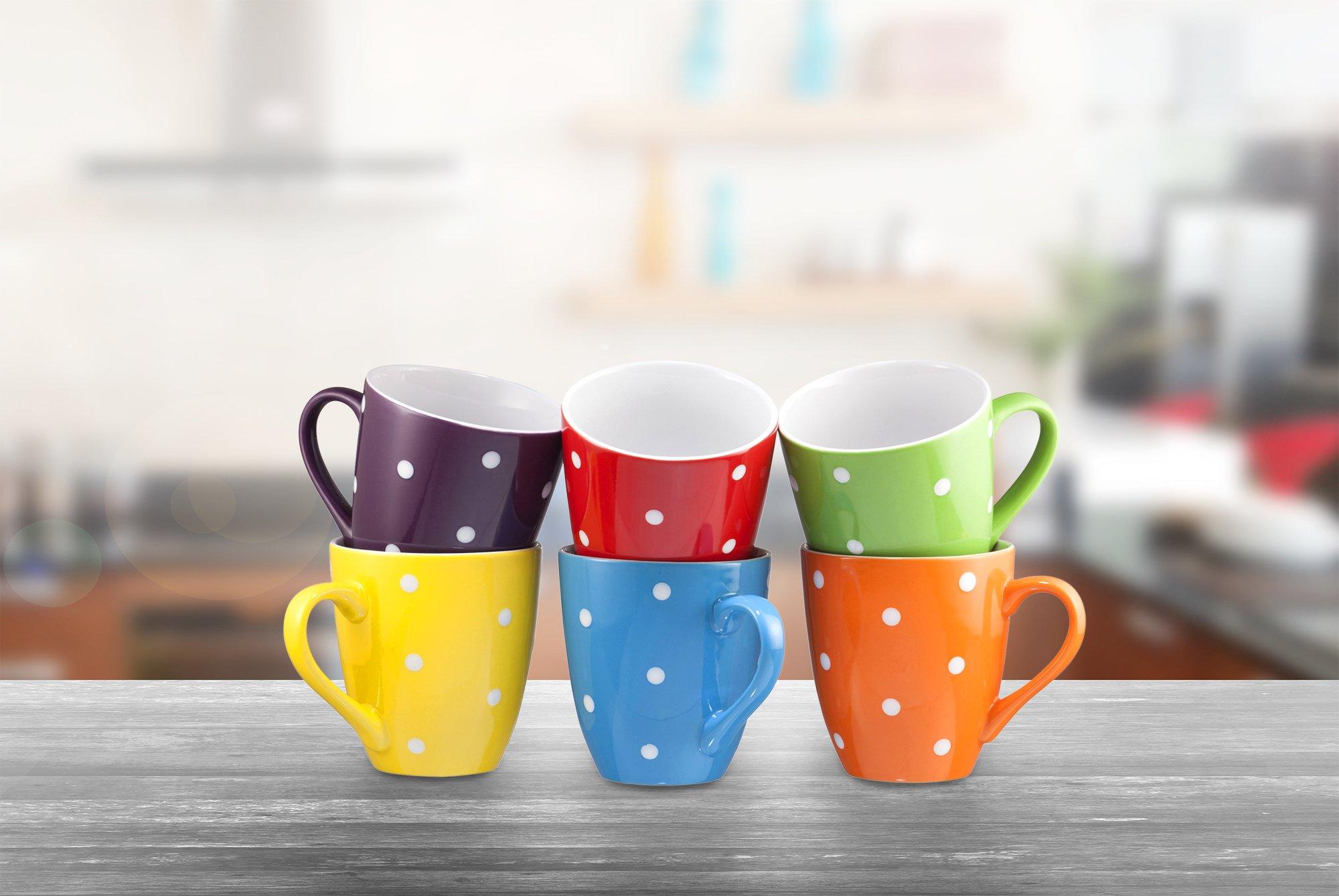 Coffee Mug Set Set of 6 Large-sized 16 Ounce Ceramic Coffee Mugs Restaurant Coffee Mugs By Bruntmor (Polka Dot) by Bruntmor (Image #7)