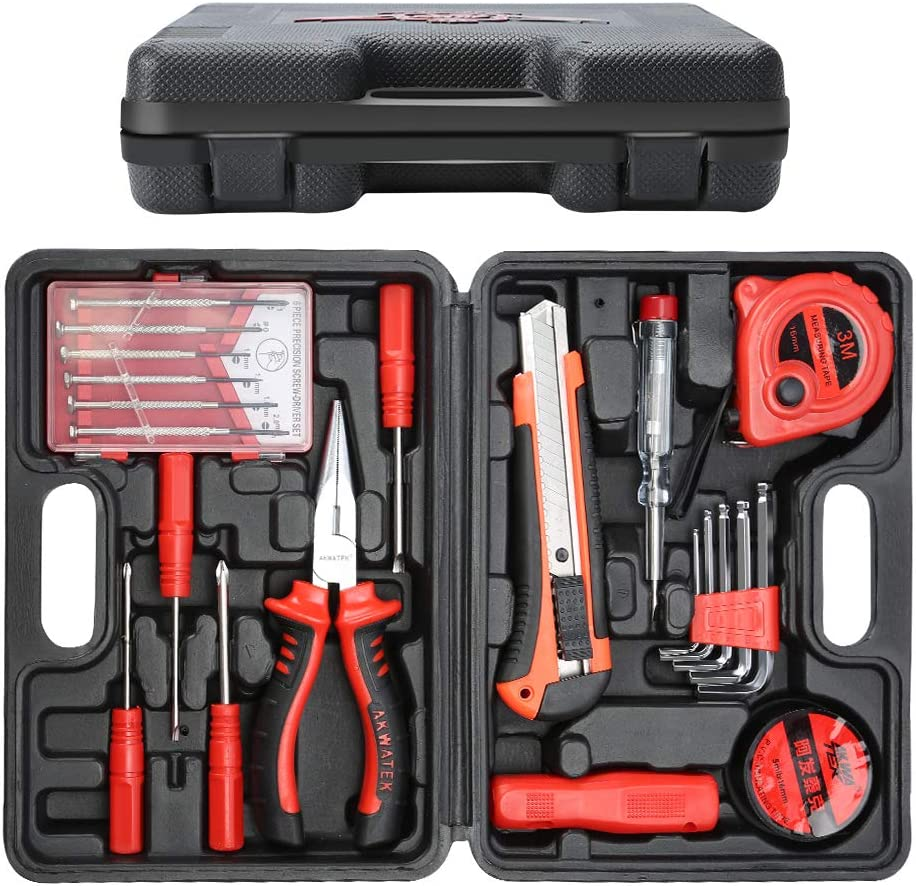 E·Durable 21pcs Maletín de Herramientas Kit de herramienta de reparación del hogar con alicates de nariz larga, medida de cinta, cuchillo de utilidad, llaves hexagonales, probador de voltaje ect