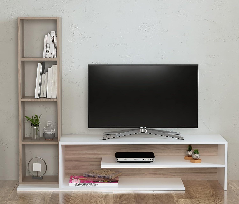 PEONY Set Soggiorno - Parete Attrezzata - Mobile TV Porta con mensola in moderno design (Bianco / Avola) Homidea