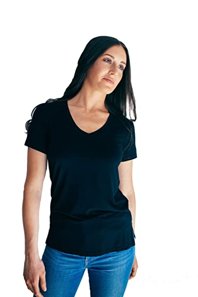 6496b29c8987 Public Habit Women's Modal V-Neck Short Sleeve T-Shirt | Soft Plain Loose  Tee