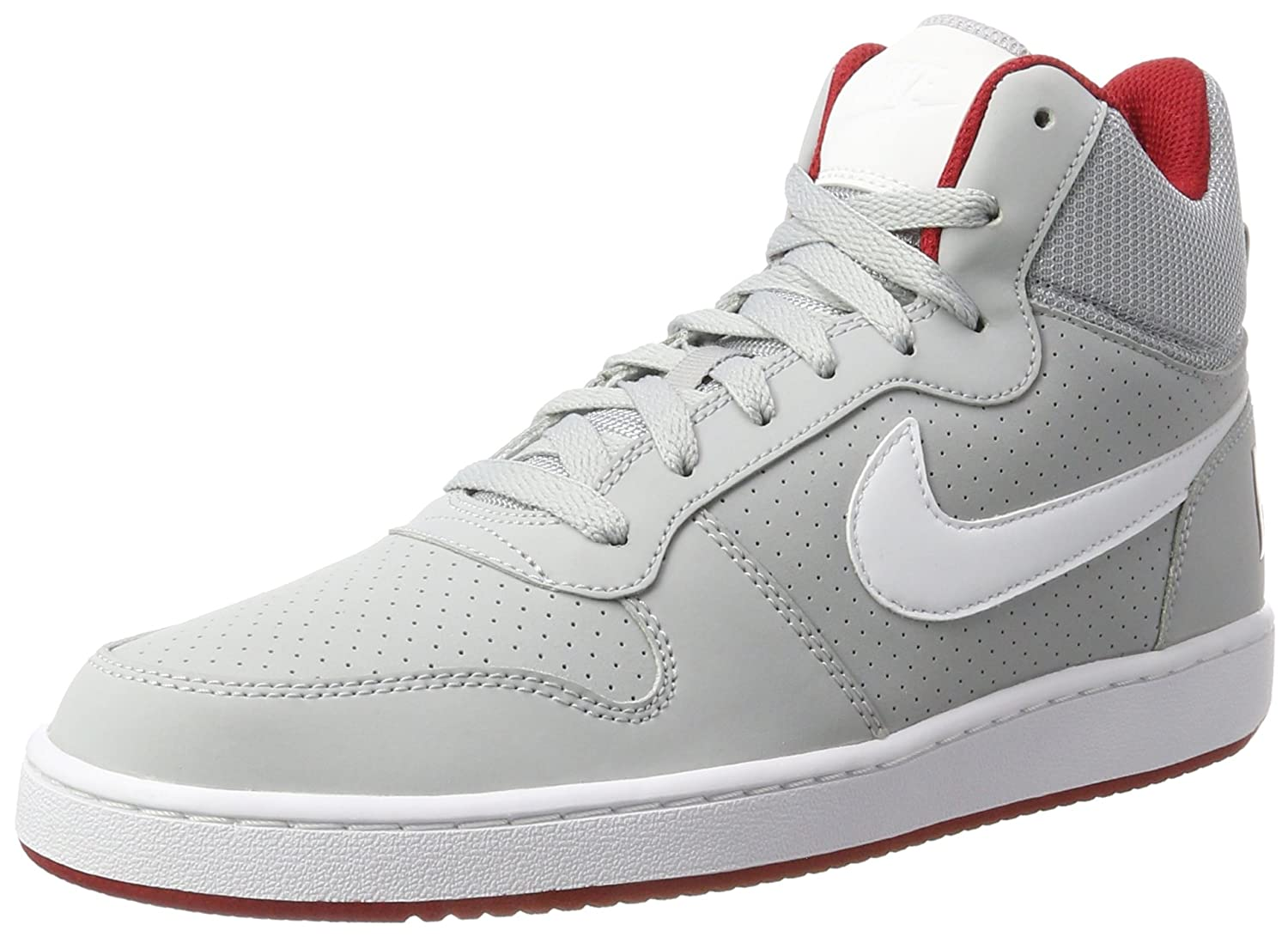 NIKE Men's Court Borough Mid Basketball Shoes B01M6A017V 9.5 D(M) US|Wolf Grey/White/Gym Red