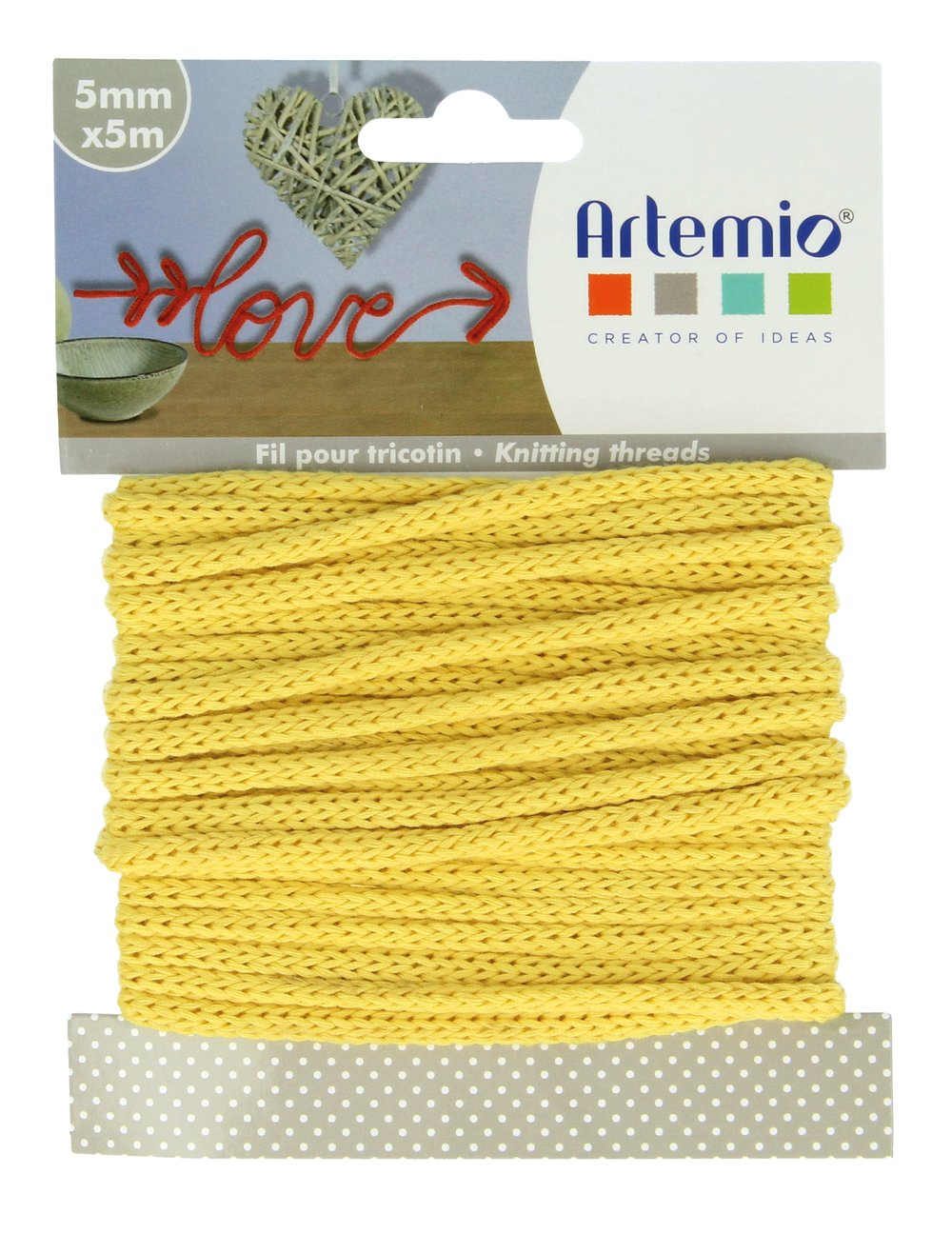 Artemio 5 mm x 5 m Filato per lavori a Maglia Colore: Giallo