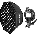Neewer 32 inches/80 centimeters Grid Octagonal Softbox with Bowens Mount Speedring, S-Type Bracket Holder and Carrying Bag for Nikon, Canon, Sony, Pentax, Olympus and Other Small Strobe Flashes