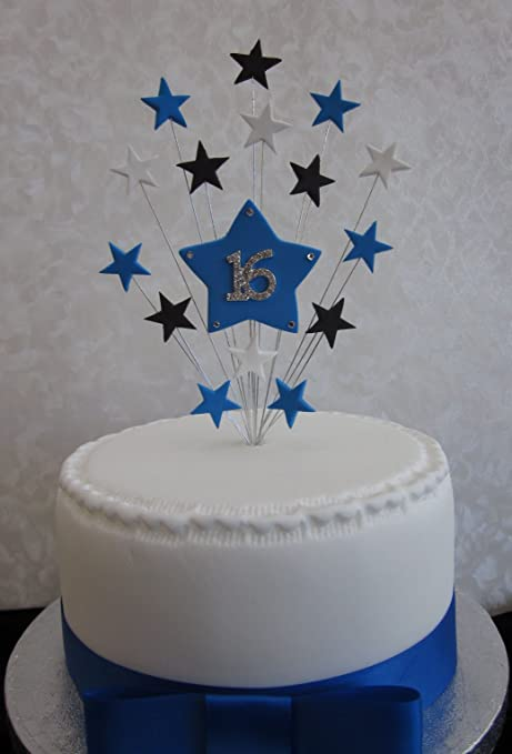 16th Birthday Cake Topper Blue Black And White Stars Suitable For A