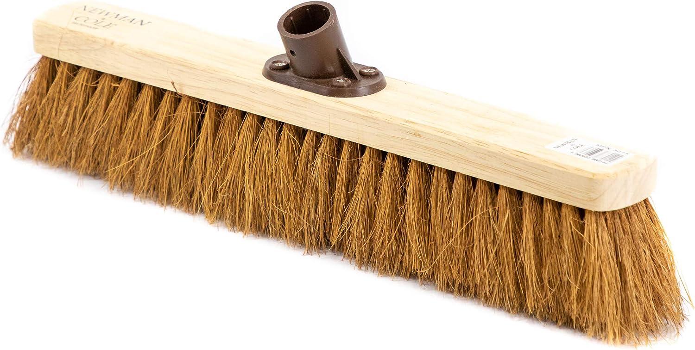 cortile testa di ricambio in legno per scopa da giardino spazzola in legno con staffa di fissaggio Morbido cocco naturale 18 // 460mm Newman and Cole Testa di scopa in legno da 45,7 cm