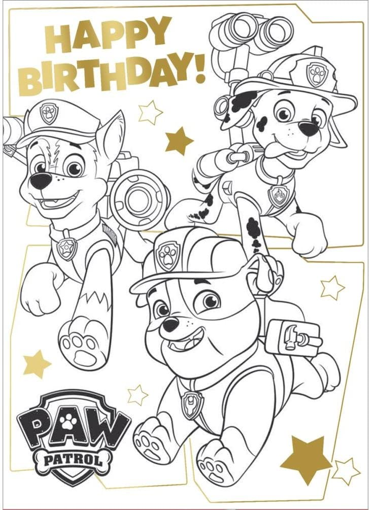 Amazon.com : Paw Patrol Colouring Fold Out Poster Birthday Card : Office  Products