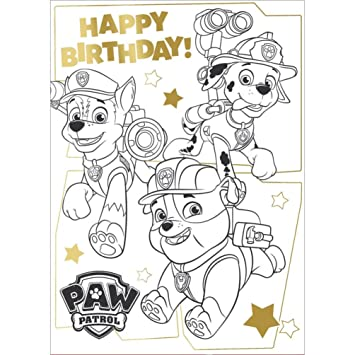 Paw Patrol Me Colour In Birthday Card With Poster Amazon