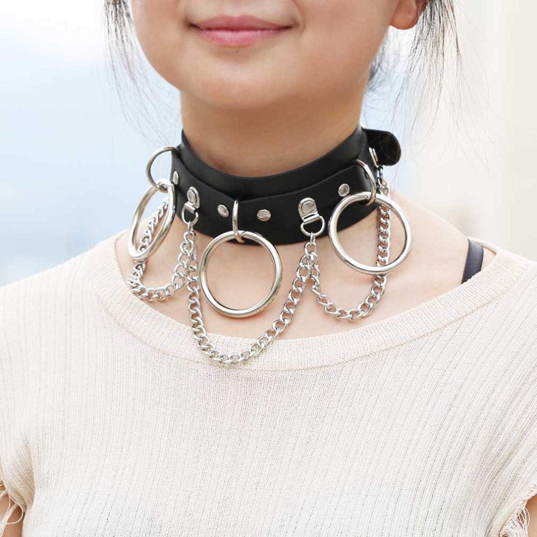 Gothic Vegan Collar  Hollow Heart Necklace Lock Pendant Punk Choker Long Chain