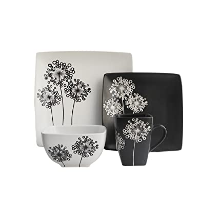Marisole 16 Piece Square Dinnerware Set-Black/White  sc 1 st  Amazon.com & Amazon.com | Marisole 16 Piece Square Dinnerware Set-Black/White ...