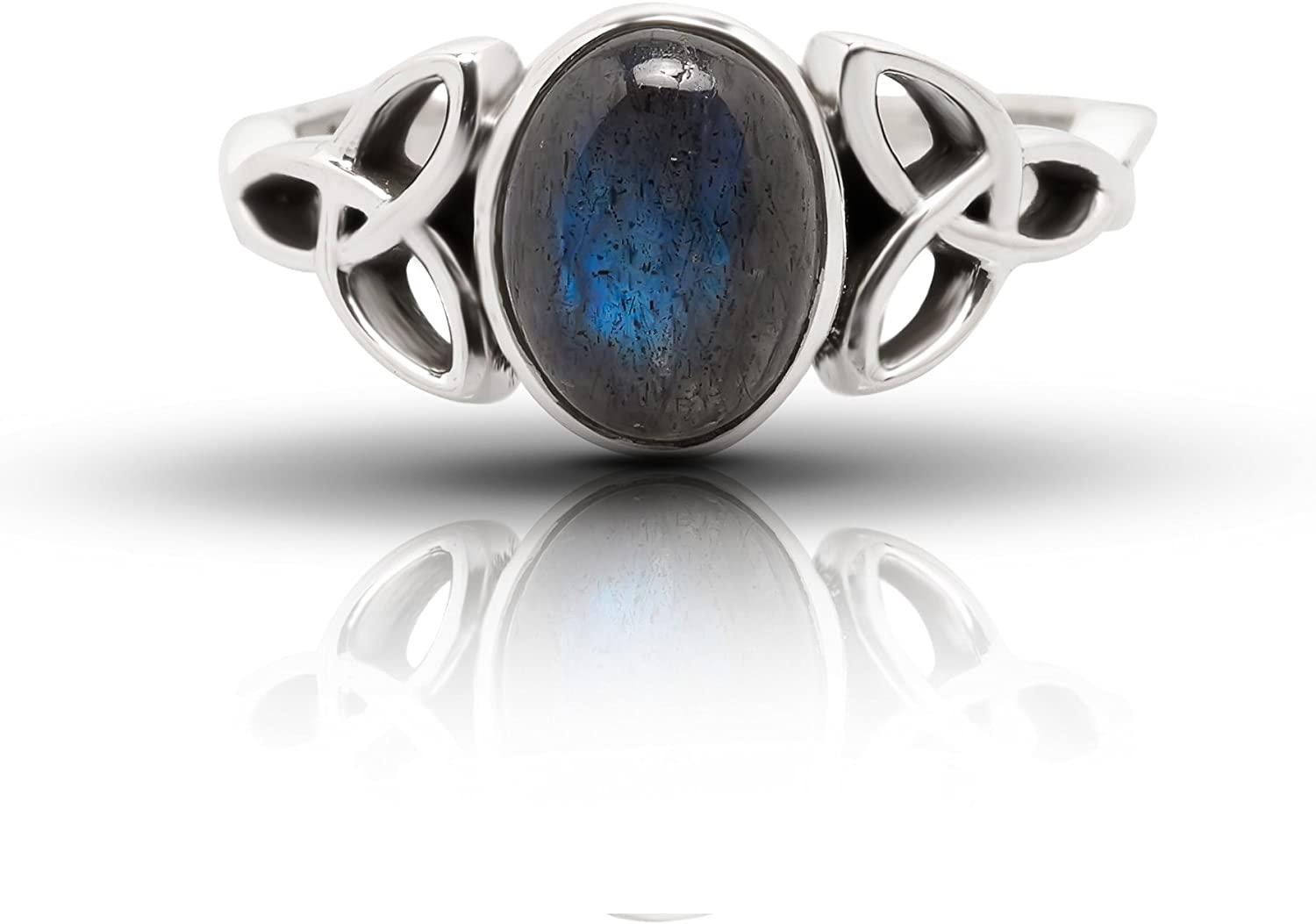 Blue Labradorite Cabochon Stackable Boho Ring Bohemian Ring For Teen Blue Iridescent Gemstone Sterling Silver Ring