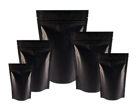 Buste nere opache con cerniera richiudibile e intaglio a strappo per imballare alimenti 8cm x 13cm Rightpak