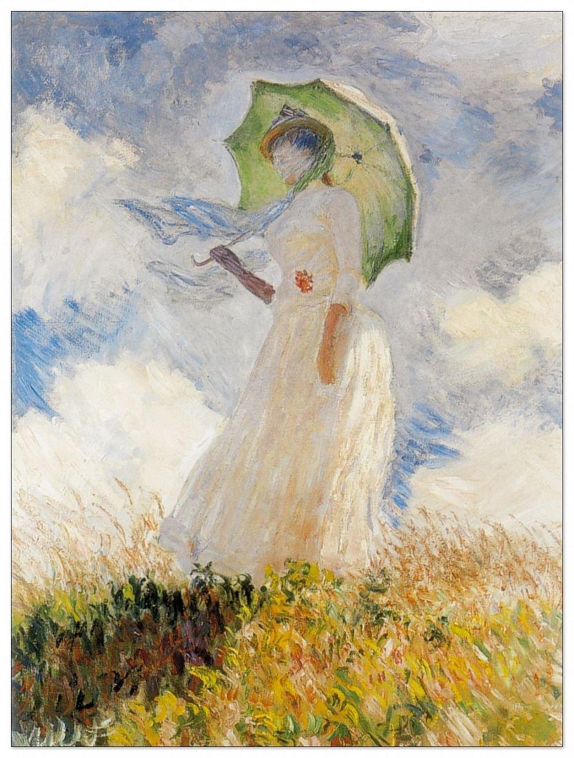 Artopweb Pannelli Decorativi Monet Lady with Umbrella Quadro, Legno, 60x1.8x80 cm Eclissi EC22024 EC22024_Multicolor stampe; quadri