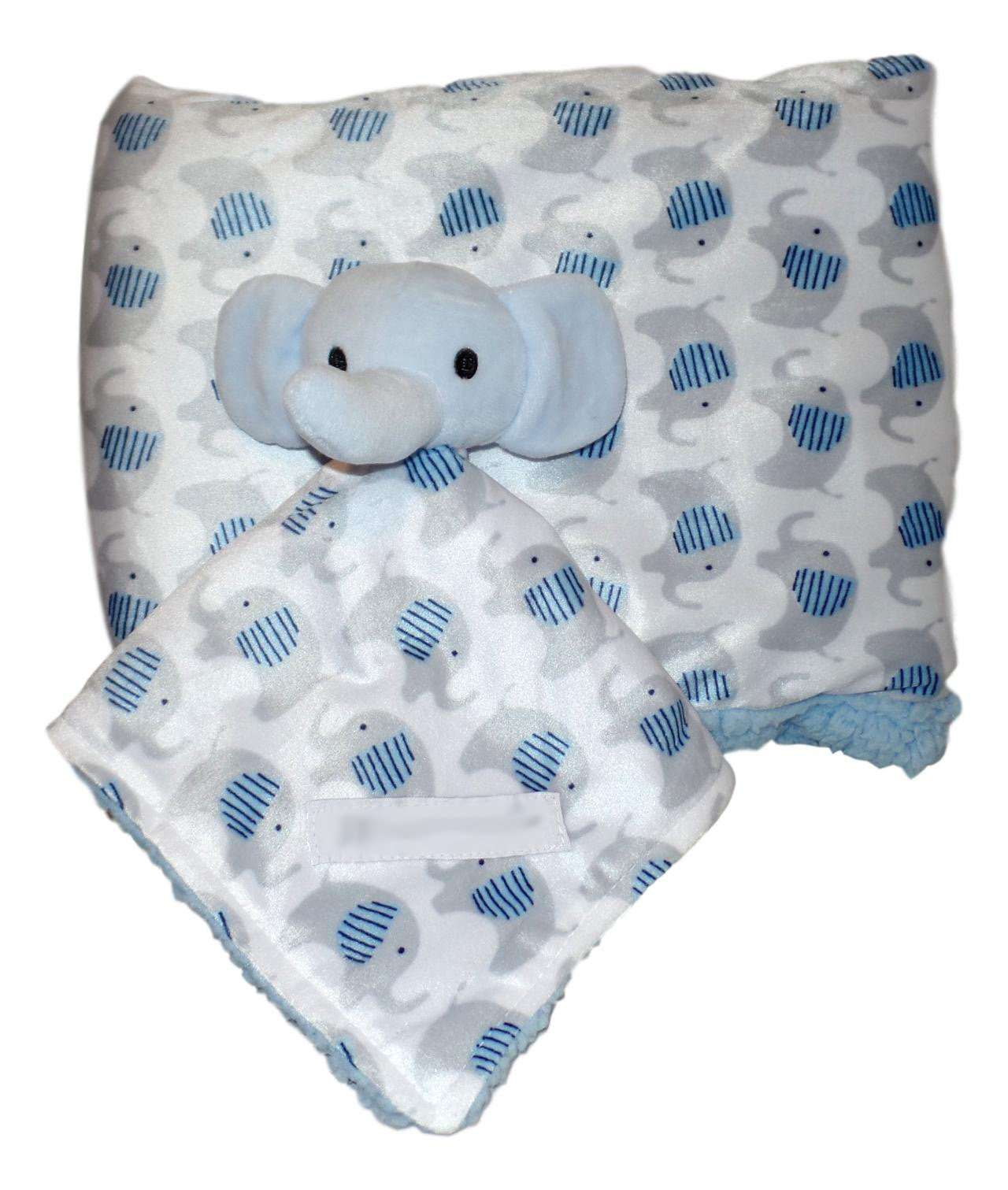 Plush Custom Embroidery Name Baby Blanket (30 x 40 inch) With Lovey Blanket - Excellent Gift Idea (Blank Blue Elephant) by A Small Love (Image #1)