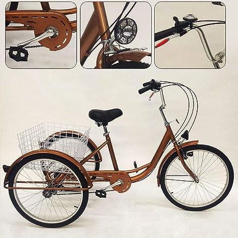 YiWon Triciclo para Adultos, 24 Pulgadas 6 Engranajes 3 Ruedas ...