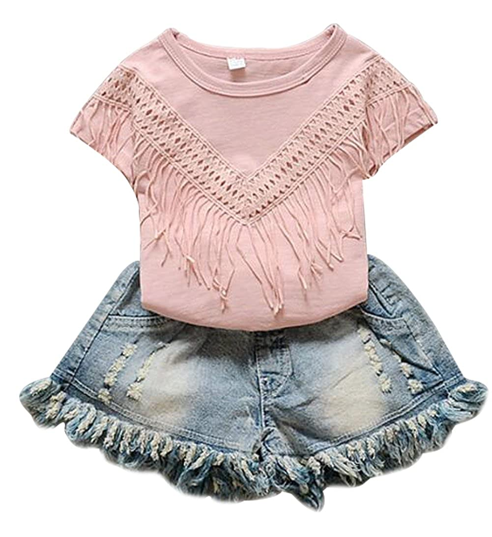 Kids Girls Summer Tassel Short Sleeve T-Shirt Tops+Ripped Denim Washed Shorts Pants 2Pcs Outfits Set BANGELY Z1654