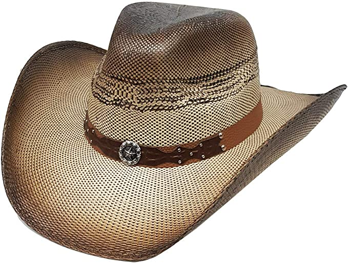 Modestone Unisex Straw Cowboy Hat Studs Hatband Tan