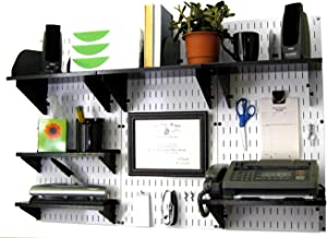 Wall Control Office Organizer Unit Wall Mounted Office Desk Storage and Organization Kit White Wall Panels and Black Accessories
