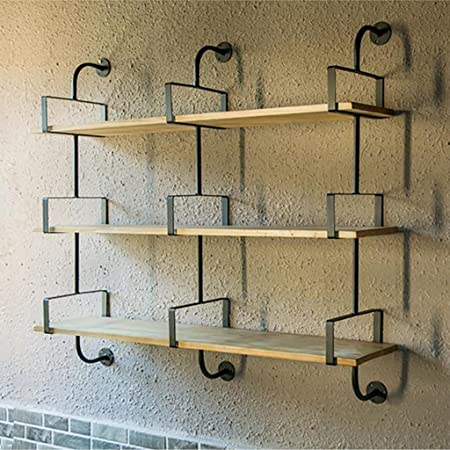 Wall Bookshelf Separator Iron Wood Shelf Mounted Storage Rack Floating Unit Frame