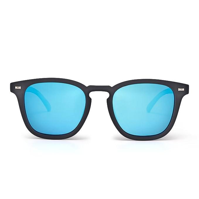 Gafas de Sol Polarizadas de Espejo Retro Clásico Cuadrado Conducir Anteojos Hombre Mujer(Gris/