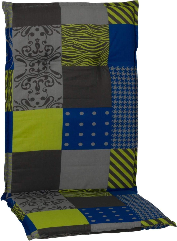Gartenstuhl-Kissen Almohada Cojines para sillas de jardín Respaldo Alto Color Negro Amarillo Azul y Antracita
