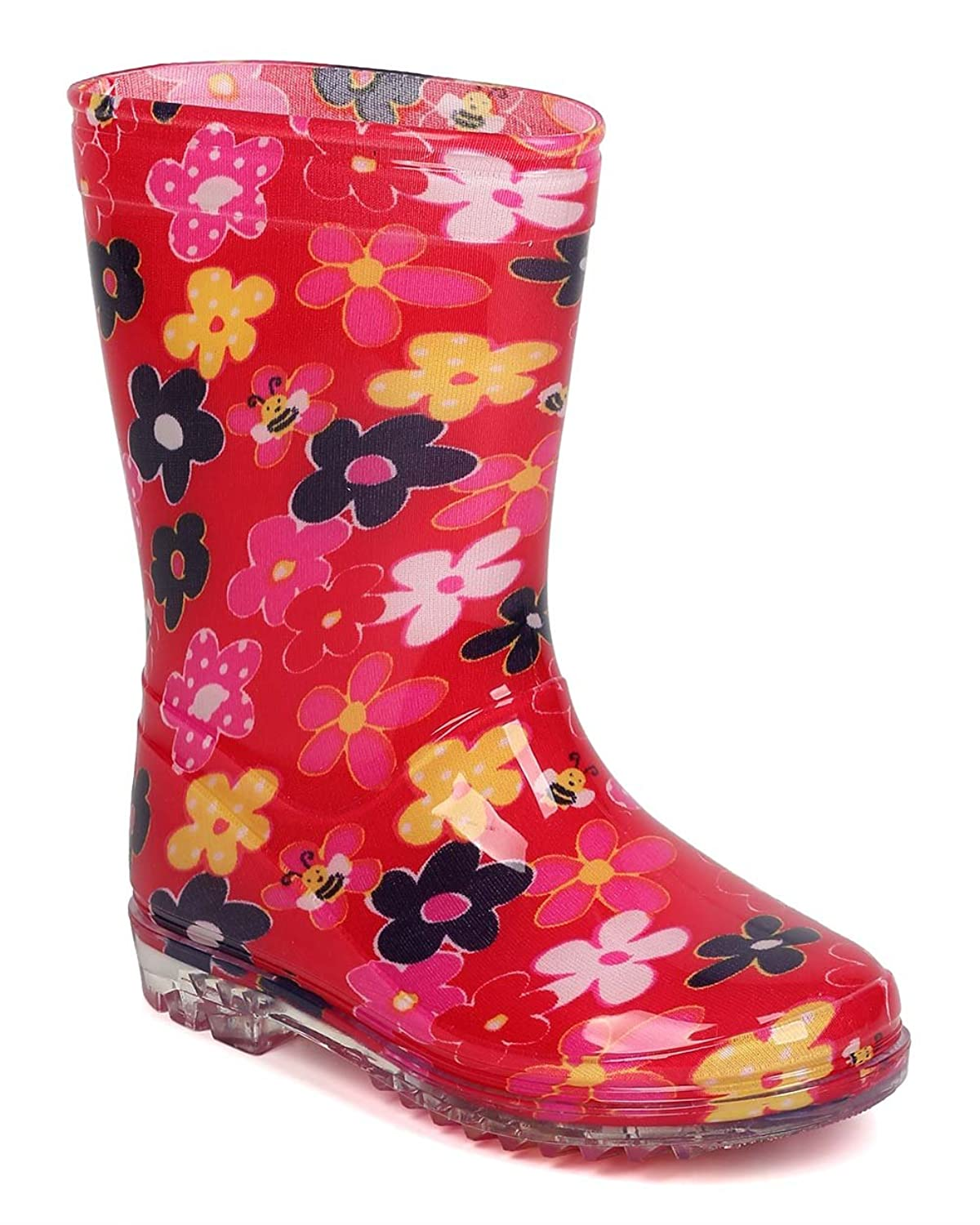 Alrisco FB10 PVC Floral Pattern Clear Lug Sole Rain Boot (Toddler Girl) - Red