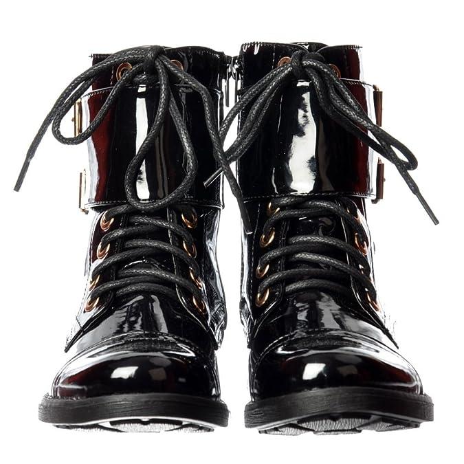 Onlineshoe Mujeres Damas Cordón Doble Hebilla Militar Combate Motorista Corto Botín - Pu Negro Patente, Negro UK3 - Eu36 - Us5 - Au4 Charol Negro - Corto