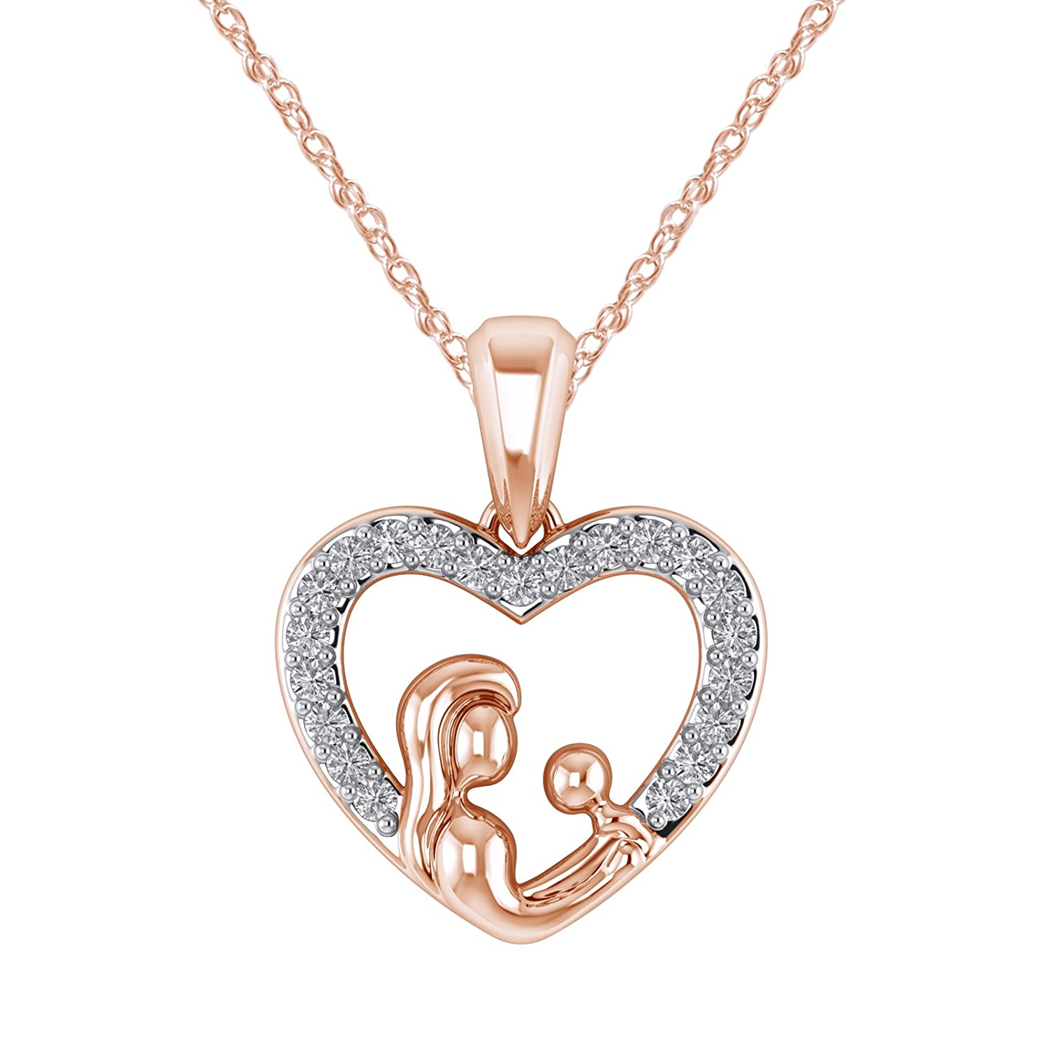 Silverraj Jewels 14K Rose Gold Plated Simulated Diamond Studded MOM /& Child Love Pendant