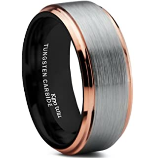 6mm Tungsten Carbide 14k Rose Gold Inlay Wedding Band Ring Size 5 13