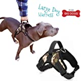 Dog Harness Large - Best Adjustable Harness with Handle for Big Breed Dogs - Easy on and off, Reflective trims, Soft Cushion Padded, Choke Free, Prevents Pulling+FREE Dog Toy
