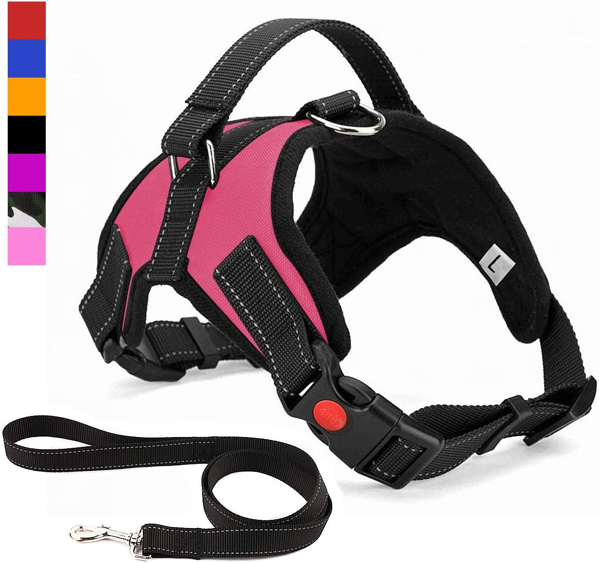 Breathable Adjustable Comfort Musonic No Pull Dog Harness for Small Medium Large Dog Best for Training Walking Free Leash Included