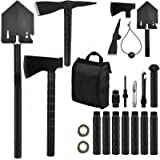 IUNIO Survival Off-Roading Tool Kit, Folding Shovel, Camping Axe, Multitool, Pickaxe, with Carrying Bag, for Outdoor, Car Eme