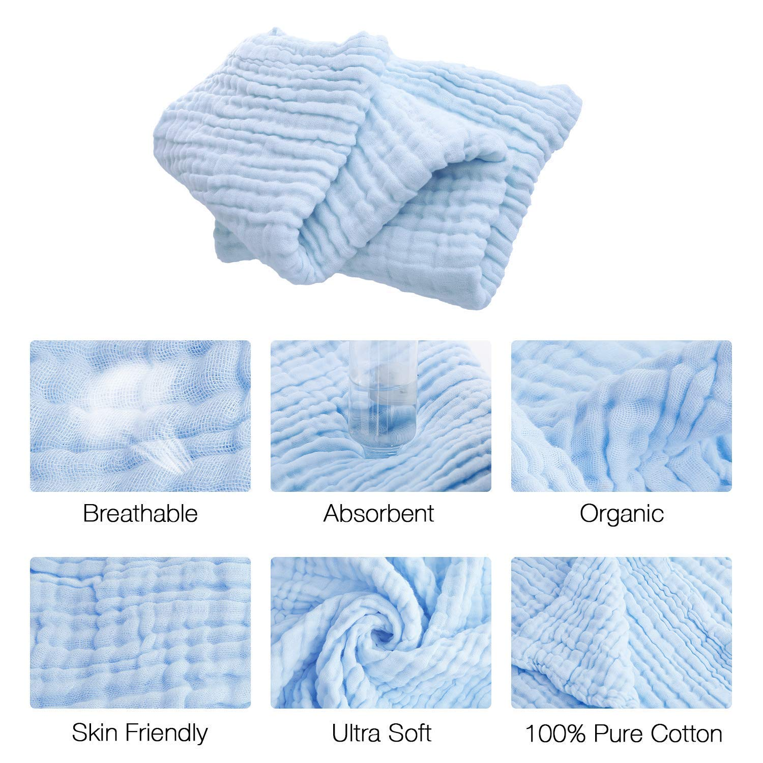 """AIMIUKIDS Muslin Baby Towel Washcloths Set-1 Large Infant Towels 43.3x43.3 /& 4 Washcloths Face Towel 11/""""x11/"""" 6 Layers Cotton Gauze Extra Soft,5 Pack Blue"""