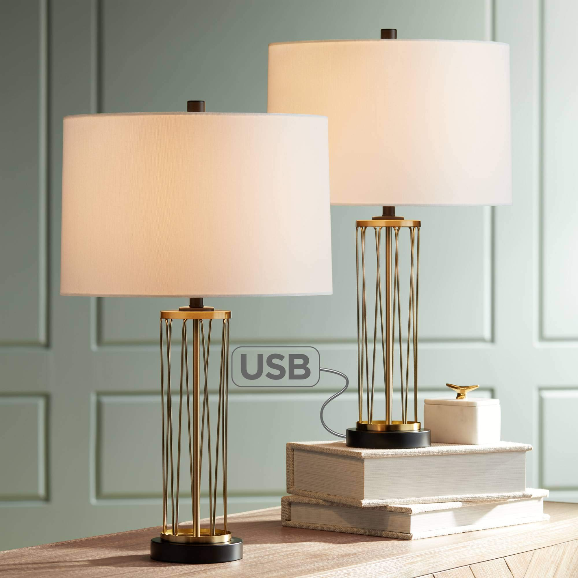 Nathan Modern Table Lamps Set of 2 with Hotel Style USB Charging Port Gold Metal Drum Shade for Living Room Family Bedroom Bedside - 360 Lighting