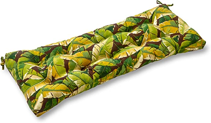 Greendale Home Fashions AZ4805-PALM-GREEN Tropical Green 44-inch Outdoor Swing/Bench Cushion