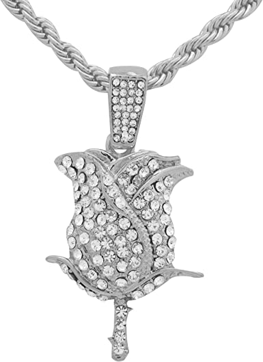 White Gold-Tone Iced Out Hip Hop Bling Boxing Glove Pendant With 18 Tennis Chain and 24 Rope Chain