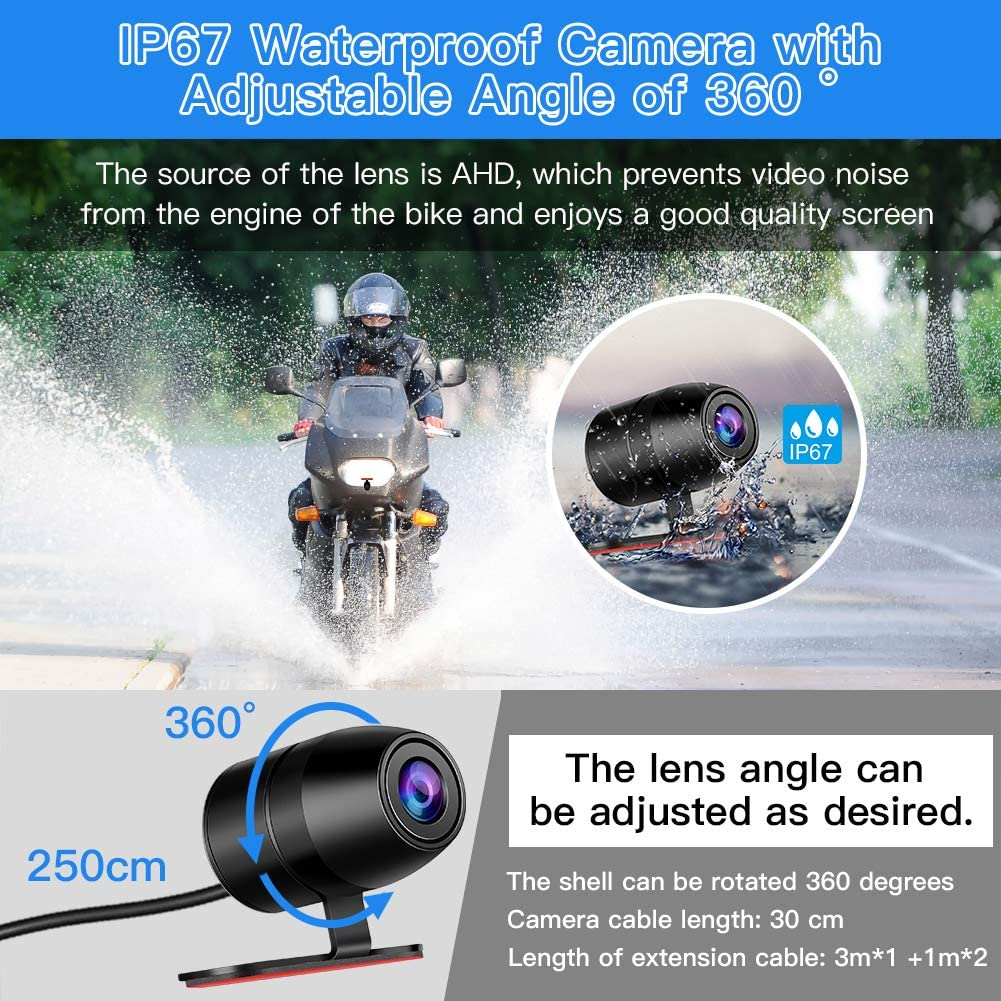 "Blueskysea DV128 Motorcycle Dash Cam 1080P Dual Lens Video Recorder Motorcycle Camera 2.7/"" LCD Front and Rear Waterproof DVR with G-Sensor Loop Recording,GPS,Manual Lock,Night Vision,130 Degr DV128"