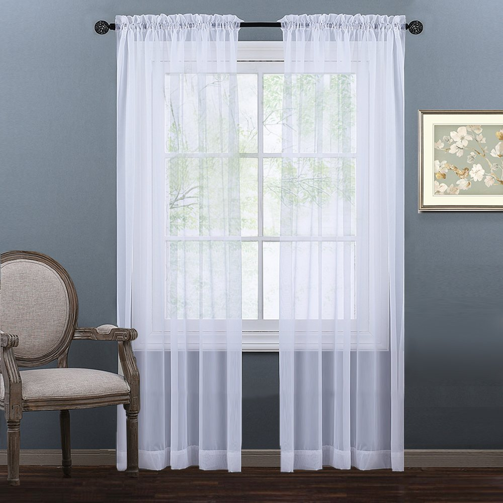 Nicetown Sheer Window Curtains Panels - Sheer Curtain Panels for Bedroom - Rod Pocket Plain Solid Sheer Voile Panel