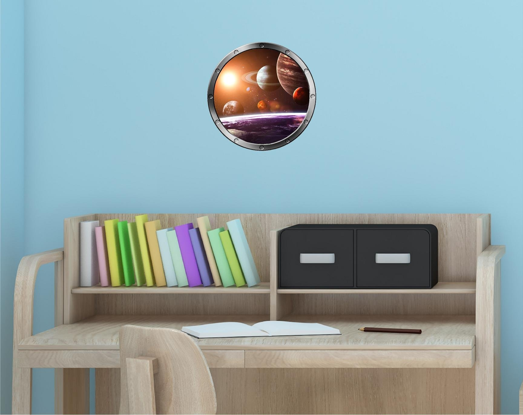 12'' Porthole Outer Space Window SOLAR SYSTEM #1 Round Silver Instant View Wall Graphic Kids Sticker Room Decal Art Décor SMALL