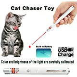 Chase Laser Cat Toys - USB Charging - Funny Gift - Crazy Chase Cat Dog Laser Toy With Bright Calibrated Laser Red Light Interactive LED Light, Pet Command Training Tools